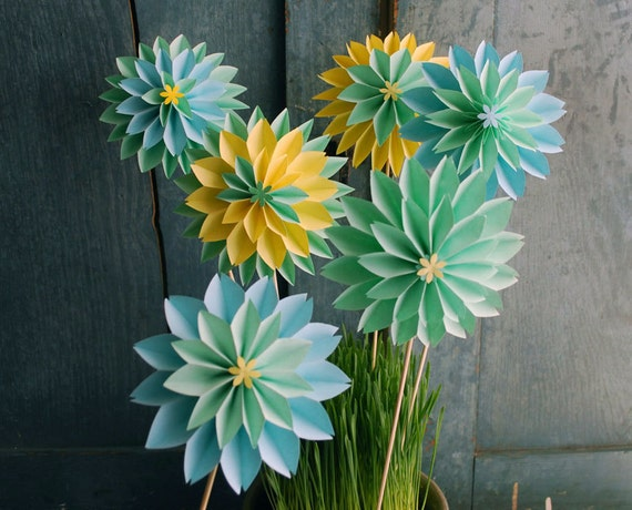 Paper Flowers,Mothers Day Bouquet, Pastel Dahlia Mix - Spring Flowers - First Anniversary, Origami Flowers