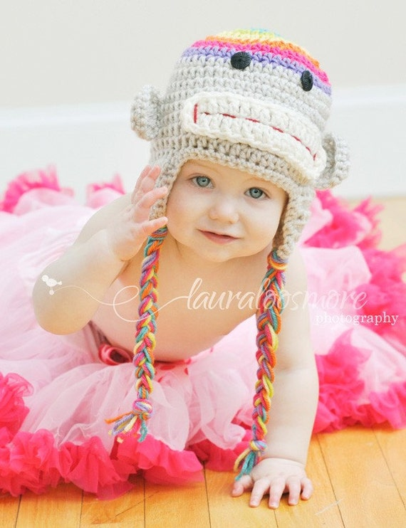 Colorful Crochet Sock Monkey Earflap Hat Girl Newborn 0-3 months 3-6 months 6-12 months READY TO SHIP