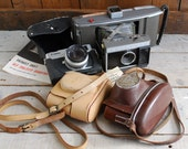Polaroid J66, Canonet 28, and 2 Cases, Pile of Photo Gear for Tinkerers, Fathers Day Special
