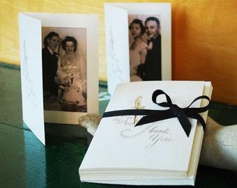Wedding Thank You Photo Cards and Envelopes, Set of 10, Vintage Gold Embossed Photo Holder Cards