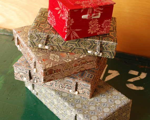5 Chinese Fabric Covered Boxes, Destash Storage Boxes