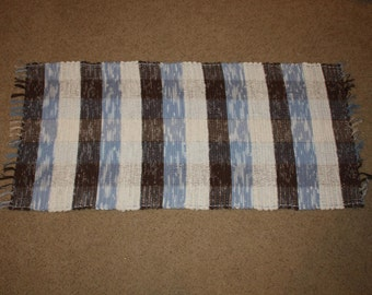 "Handwoven Rag Rug  - Chocolate Brown, White & Blue Stripes - 54""....(#5)"