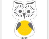 Grey and Yellow Owl Print