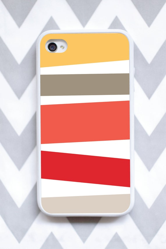 FINAL SALE iphone 4 or iPhone 4s color stripes design in coral yellow and tan case