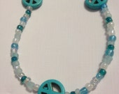 Blue Peace Beaded Necklace