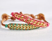WOVEN CHAIN Leather Bracelet by  MOONDROPS