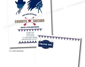 Cowboys and Indians Printables Invitation Set