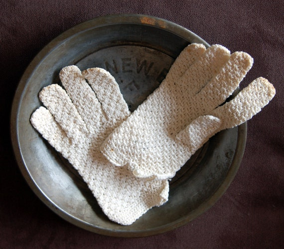 Cotton Crocheted Gloves - Size Large