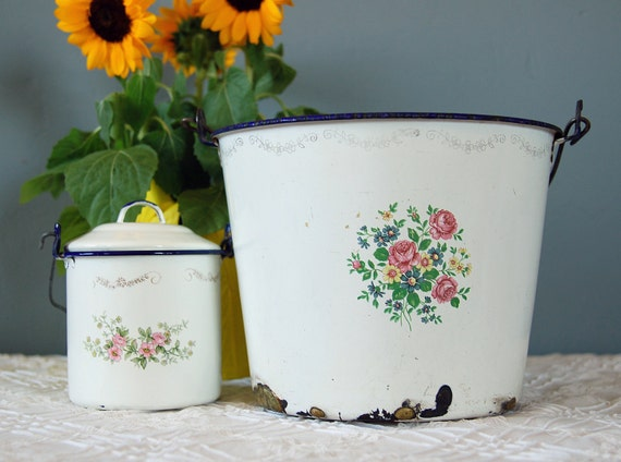 Two Vintage Floral Mexican Enamelware Buckets - Coiled Wire Handles