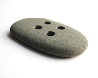 Minimalistic Gray Stone Button - Flat Sea Pebble - Drilled Beach Rock - Sewing Supply