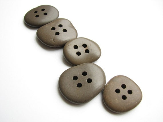 Stone Buttons - Drilled Beach Stones - Earthy