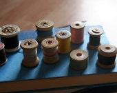 Sale Lot of Ten Multi Color Vintage Wooden Thread Spools