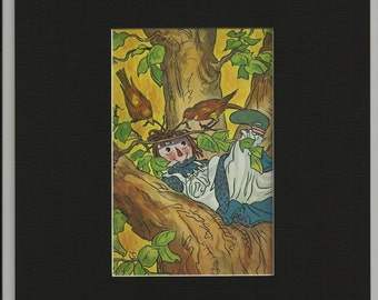 Raggedy Ann In a Tree  Matted Book Page