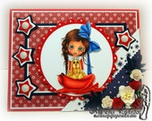 Summer Greeting Card - Red, White and Blue Wendy