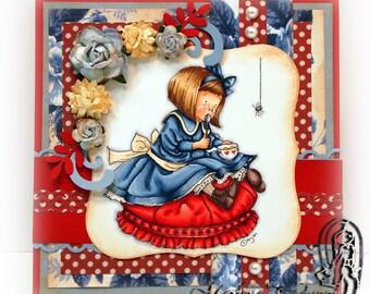 Handmade Greeting Card - Little Miss Muffet