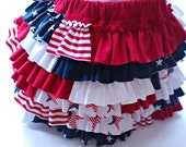 girls size 2/3 red, white and blue ruffle layer skirt