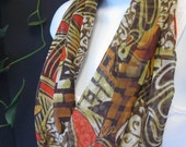 Scarf Infinity in Brown, Orange and Red Fall Colors Tribal Print Jungle Print