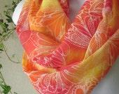 Butterfly Infinity Scarf in Tangerine Tango, Flamingo Pink, Orange and Sunshine Yellow Handmade