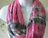 Pink and Gray Infinity Scarf Tie Dye Design Single Loop Scarf Handmade Fashion by Thimbledoodle