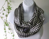 Houndstooth Black and White Infinity Scarf Double Loop Scarf Professional Handmade by Thimbledoodle