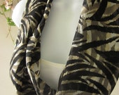 Zebra Infinity Fashion Scarf in Sheer Black, Tan and Off-White Tribal Animal Print Single Loop Scarf Handmade by Thimbledoodle