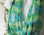 Infinity Scarf Pastel Green and Turquoise in Modern or Retro Geometric Circle Design Handmade