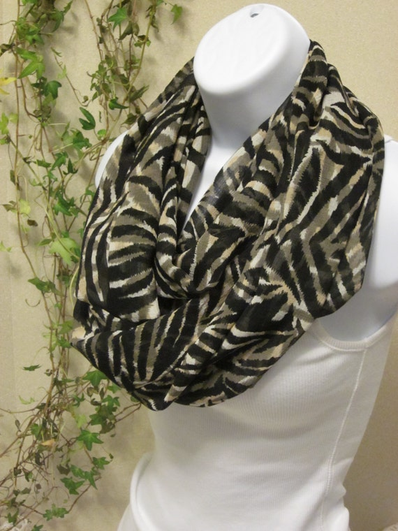 Zebra Infinity Scarf in Black Tan Off-White Sheer Chiffon Animal Print Handmade Double Loop Scarf