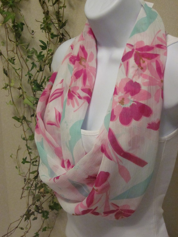 Valentines Day Infinity Scarf with Bright Fuchsia, Pink Flowers and Mint Leaves on White Handmade Fashion by Thimbledoodle