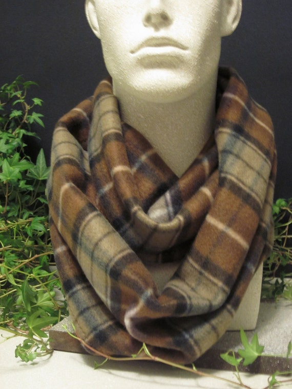 Brown Plaid Fleece Infinity Scarf  Neck Warmer Double Loop Men'sScarf in Brown, Black and Tan Plaid Handmade Fashion by Thimbledoodle