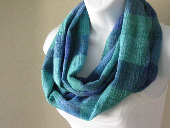 Cotton Infinity Loop Scarf in Plaid Blue Lagoon Cotton Crinkle Gauze Infinity Scarf Handmade Fashion by Thimbledoodle