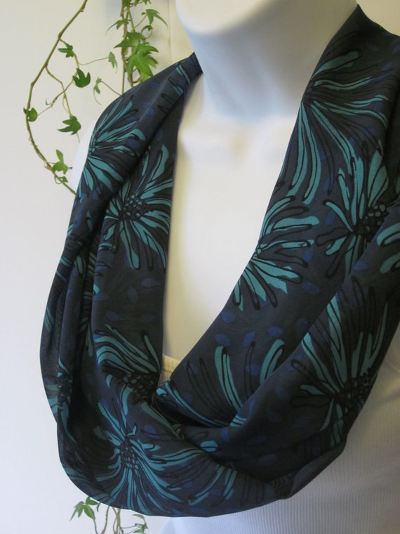 Navy Flower Print Infinity Scarf in Quiet Shades of Navy Blue and Turquoise Handmade by Thimbledoodle