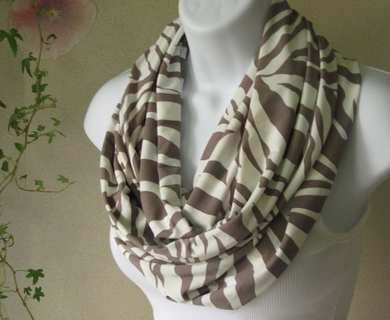 Zebra Print Infinity Scarf in Taupe Khaki and Off White Animal Print Jersey Knit Double Loop Scarf Handmade Fashion by Thimbledoodle