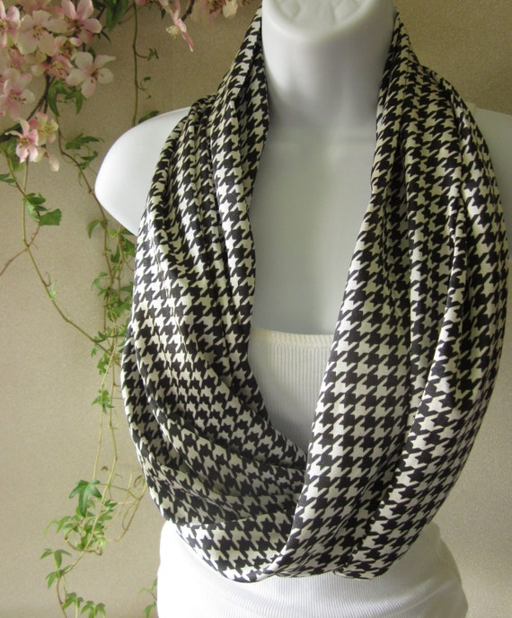 Houndstooth Infinity Scarf Black and White Houndstooth Professional Eternity Scarf Handmade by Thimbledoodle