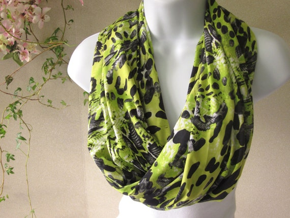Infinity Scarf in Neon Lime Green and Black Wild Animal Reptile Jersey Knit SINGLE Loop Scarf Handmade
