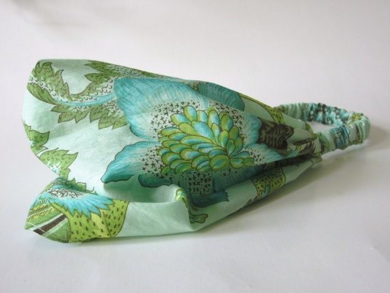 Cotton headband in Pale Meadow Green, Citrine, Teal, Brown and Lime Amy Butler Soul Blossoms Night Tree Design Handmade by Thimbledoodle