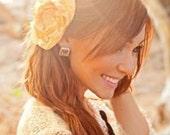 Honey Gold Layered Satin Rosette Hair Clip