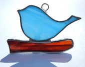 Stained Glass Suncatcher: Blue Bird on a Branch