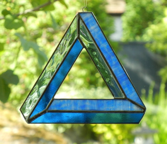 Stained Glass Suncatcher: Optical Illusion, Impossible Triangle, Blue