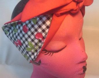 GINGHAM CHERRIES Rockabilly Hair tie, hair scarf...