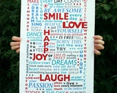 Be Happy Poster typography print Large Size RED