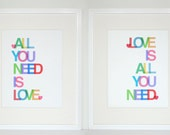 All You Need is Love, Love is All You Need - Beatles inspired set of two 11x14 prints