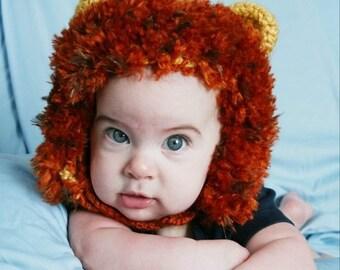 Little Lion Hat- MADE to ORDER- Newborn to toddler photo prop, Halloween