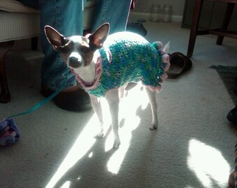 Cha Cha Dog Sweater-Dress- Small to Med- MADE to ORDER
