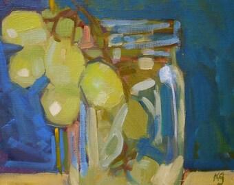 "Original Oil Painting  ""Grapes""  10"" x 10"""