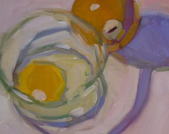 """Oil Painting Eggs Ball Shadow """"Two Yellows"""" 10"""" x 10"""""""