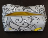 Pretty Tweet boxy zipper pouch