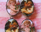 SUMMER SALE - Angel Cherubs Cameos 4 Piece  Oval Charms Pendants