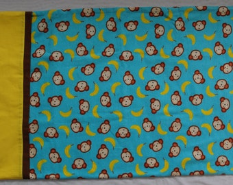 Monkey Flannel Pillowcase, Standard Size, Blue or Pink