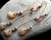 Suspended Shells...seashell and copper chandelier earrings