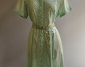 Vintage 50s Turquoise Eyelet 50s Day Dress Full Skirt L/XL